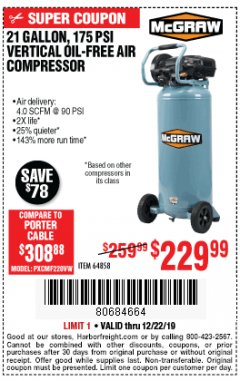 Harbor Freight Coupon MCGRAW 175 PSI, 21 GALLON VERTICAL OIL-FREE AIR COMPRESSOR Lot No. 64858 Expired: 12/22/19 - $229.99