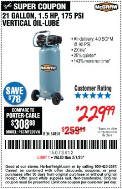 Harbor Freight Coupon MCGRAW 175 PSI, 21 GALLON VERTICAL OIL-FREE AIR COMPRESSOR Lot No. 64858 Expired: 2/7/20 - $229.99