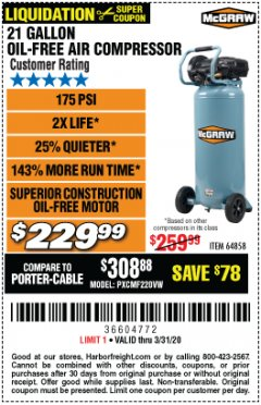 Harbor Freight Coupon MCGRAW 175 PSI, 21 GALLON VERTICAL OIL-FREE AIR COMPRESSOR Lot No. 64858 Expired: 3/31/20 - $229.99