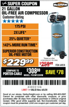 Harbor Freight Coupon MCGRAW 175 PSI, 21 GALLON VERTICAL OIL-FREE AIR COMPRESSOR Lot No. 64858 Expired: 6/30/20 - $229.99