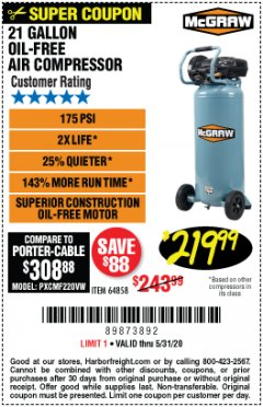 Harbor Freight Coupon MCGRAW 175 PSI, 21 GALLON VERTICAL OIL-FREE AIR COMPRESSOR Lot No. 64858 Expired: 6/30/20 - $219.99
