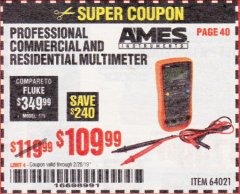 Harbor Freight Coupon AMES PROFESSIONAL COMMERCIAL AND RESIDENTIAL MULTIMETER Lot No. 64021 Expired: 2/28/19 - $109.99