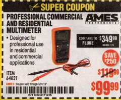 Harbor Freight Coupon AMES PROFESSIONAL COMMERCIAL AND RESIDENTIAL MULTIMETER Lot No. 64021 Expired: 3/31/19 - $99.99