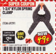 "Harbor Freight Coupon 1-3/4"" NYLON SPRING CLAMP Lot No. 69291 Expired: 2/28/19 - $0.49"