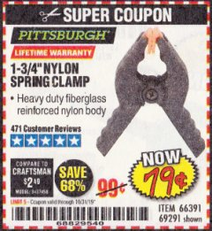 "Harbor Freight Coupon 1-3/4"" NYLON SPRING CLAMP Lot No. 66391 Expired: 10/31/19 - $0.79"