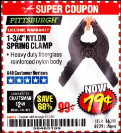 "Harbor Freight Coupon 1-3/4"" NYLON SPRING CLAMP Lot No. 66391 Expired: 3/31/20 - $0.79"