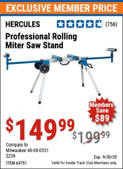 Harbor Freight ITC Coupon HERCULES HEAVY DUTY MOBILE MITER SAW STAND Lot No. 64751/56165 Expired: 9/30/20 - $149.99