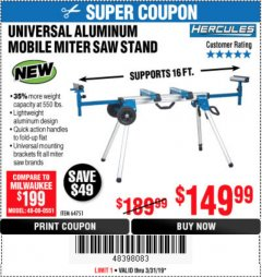 Harbor Freight Coupon HERCULES HEAVY DUTY MOBILE MITER SAW STAND Lot No. 64751/56165 Expired: 3/31/19 - $149.99