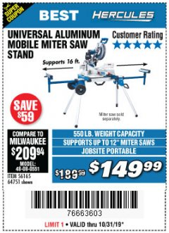 Harbor Freight Coupon HERCULES HEAVY DUTY MOBILE MITER SAW STAND Lot No. 64751/56165 Expired: 10/31/19 - $149.99