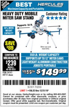 Harbor Freight Coupon HERCULES HEAVY DUTY MOBILE MITER SAW STAND Lot No. 64751/56165 Expired: 12/31/19 - $149.99