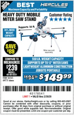 Harbor Freight Coupon HERCULES HEAVY DUTY MOBILE MITER SAW STAND Lot No. 64751/56165 Expired: 2/29/20 - $149.99