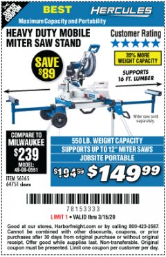 Harbor Freight Coupon HERCULES HEAVY DUTY MOBILE MITER SAW STAND Lot No. 64751/56165 Expired: 3/15/20 - $149.99