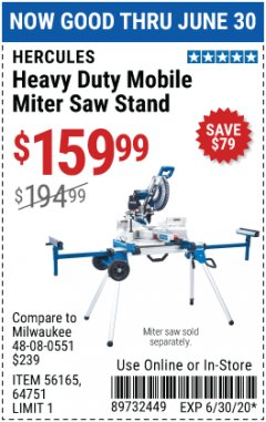 Harbor Freight Coupon HERCULES HEAVY DUTY MOBILE MITER SAW STAND Lot No. 64751/56165 Expired: 6/30/20 - $159.99