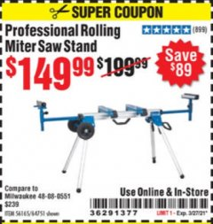 Harbor Freight Coupon HERCULES HEAVY DUTY MOBILE MITER SAW STAND Lot No. 64751/56165 Expired: 3/27/21 - $149.99