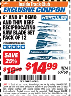 "Harbor Freight ITC Coupon HERCULES 6"" AND 9"" DEMO AND THIN KERF RECIPROCATING SAW BLADE SET PACK OF 12 Lot No. 63768 Expired: 8/31/19 - $14.99"