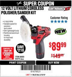 Harbor Freight Coupon EARTHQUAKE XT 12 VOLT LITHIUM CORDLESS POLISHER/SANDER KIT Lot No. 64479 EXPIRES: 5/19/19 - $89.99