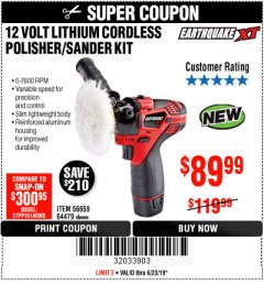 Harbor Freight Coupon EARTHQUAKE XT 12 VOLT LITHIUM CORDLESS POLISHER/SANDER KIT Lot No. 64479/56659 Expired: 6/23/19 - $89.99
