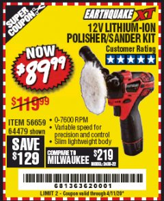 Harbor Freight Coupon EARTHQUAKE XT 12 VOLT LITHIUM CORDLESS POLISHER/SANDER KIT Lot No. 64479/56659 Expired: 3/1/20 - $89.99