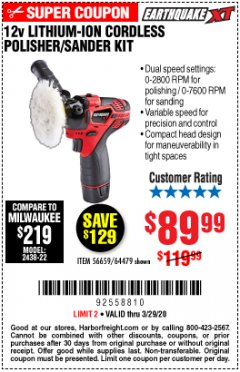 Harbor Freight Coupon EARTHQUAKE XT 12 VOLT LITHIUM CORDLESS POLISHER/SANDER KIT Lot No. 64479/56659 Expired: 3/29/20 - $89.99