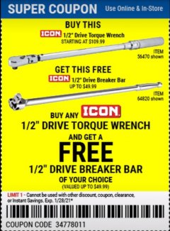 "Harbor Freight Free Coupon ICON 1/2"" DRIVE 25"" BREAKER BAR Lot No. 64820 Valid Thru: 1/28/21 - FWP"
