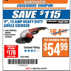 "Harbor Freight ITC Coupon 9"" HEAVY DUTY ANGLE GRINDER Lot No. 69085 Expired: 5/29/18 - $54.99"