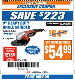 "Harbor Freight ITC Coupon 9"" HEAVY DUTY ANGLE GRINDER Lot No. 69085 Expired: 12/26/18 - $54.99"