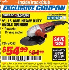 "Harbor Freight ITC Coupon 9"" HEAVY DUTY ANGLE GRINDER Lot No. 69085 Expired: 4/30/19 - $54.99"