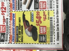 "Harbor Freight ITC Coupon 9"" HEAVY DUTY ANGLE GRINDER Lot No. 69085 Expired: 11/30/19 - $54.99"