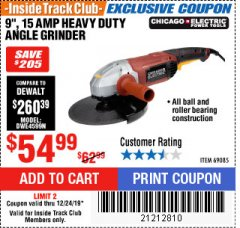"Harbor Freight Coupon 9"" HEAVY DUTY ANGLE GRINDER Lot No. 69085 Expired: 12/24/19 - $54.99"