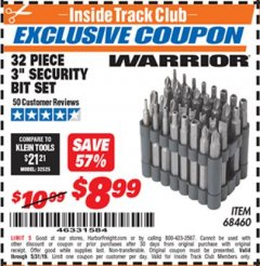 "Harbor Freight ITC Coupon 32 PIECE 3"" SECURITY BIT SET Lot No. 68460 Dates Valid: 12/31/69 - 5/31/19 - $8.99"