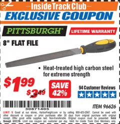 "Harbor Freight ITC Coupon 8"" FLAT FILE Lot No. 96626 Expired: 3/31/19 - $1.99"