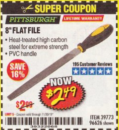 "Harbor Freight Coupon 8"" FLAT FILE Lot No. 96626 Expired: 11/30/19 - $2.49"