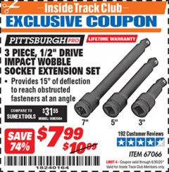 "Harbor Freight ITC Coupon 3 PIECE, 1/2"" DRIVE IMPACT WOBBLE SOCKET EXTENSION SET Lot No. 67066 Dates Valid: 12/31/69 - 6/30/20 - $7.99"