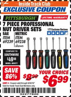 Harbor Freight ITC Coupon 7 PIECE PROFESSIONAL NUT DRIVER SETS Lot No. 95207/69239/69238 Expired: 9/30/19 - $6.99