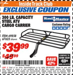 Harbor Freight ITC Coupon 300 LB. CAPACITY ATV CARGO CARRIER Lot No. 67623/69858 Expired: 9/30/18 - $39.99