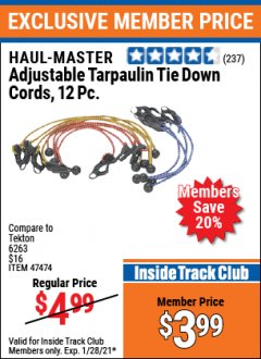 Harbor Freight ITC Coupon 12 PIECE ADJUSTABLE TARPAULIN TIE DOWN CORDS Lot No. 62972/47474 Valid: 1/1/21 1/28/21 - $3.99