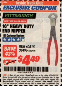 "Harbor Freight ITC Coupon 10"" HEAVY DUTY END NIPPER Lot No. 60815/38496 Expired: 7/31/19 - $4.49"