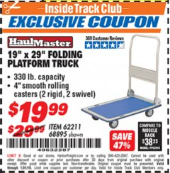 "Harbor Freight ITC Coupon 19"" x 29"" FOLDING PLATFORM TRUCK Lot No. 62211/68895 Expired: 1/31/19 - $19.99"