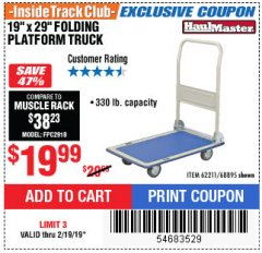 "Harbor Freight ITC Coupon 19"" x 29"" FOLDING PLATFORM TRUCK Lot No. 62211/68895 Expired: 2/19/19 - $19.99"