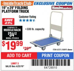 "Harbor Freight ITC Coupon 19"" x 29"" FOLDING PLATFORM TRUCK Lot No. 62211/68895 Expired: 4/23/19 - $19.99"