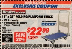 "Harbor Freight ITC Coupon 19"" x 29"" FOLDING PLATFORM TRUCK Lot No. 62211/68895 Valid Thru: 7/31/19 - $22.99"