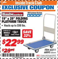 "Harbor Freight ITC Coupon 19"" x 29"" FOLDING PLATFORM TRUCK Lot No. 62211/68895 Dates Valid: 12/31/69 - 6/30/20 - $22.99"
