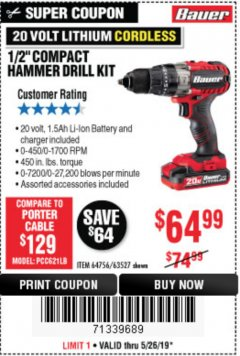 "Harbor Freight Coupon 1/2"" COMPACT HAMMER DRILL KIT Lot No. 64756/63527 EXPIRES: 5/19/19 - $64.99"