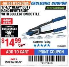 "Harbor Freight ITC Coupon 17-1/2"" HEAVY DUTY HAND RIVETER SET Lot No. 66422 Expired: 2/26/19 - $14.99"