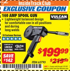 Harbor Freight ITC Coupon 160 AMP SPOOL GUN Lot No. 63793 Expired: 1/31/20 - $199.99