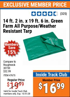"Harbor Freight ITC Coupon 14 FT. 2"" x 18 FT. 4"" FARM QUALITY TARP Lot No. 69199/60459/47675 Expired: 10/31/20 - $16.99"