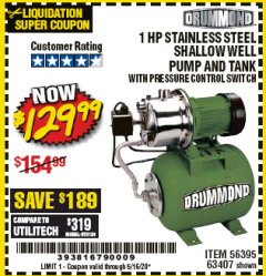 Harbor Freight Coupon 1 HP STAINLESS STEEL SHALLOW WELL PUMP AND TANK Lot No. 56395/63407 EXPIRES: 6/30/20 - $129.99