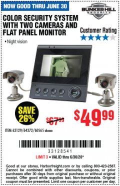 Harbor Freight Coupon COLOR SECURITY SYSTEM WITH 2 CAMERAS AND FLAT PANEL MONITOR Lot No. 62284/63129/64272/60565 EXPIRES: 6/30/20 - $49.99