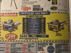 "Harbor Freight Coupon HERCULES 10"" 15 AMP JOBSITE TABLE SAW Lot No. 64855 EXPIRES: 5/31/19 - $299"