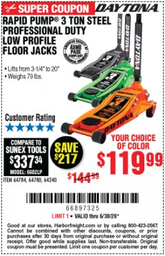 Harbor Freight Coupon DAYTONA RAPID PUMP 3 TON STEEL LOW PROFILE FLOOR JACKS Lot No. 64360/64883/64240/64784/56261/64780 Expired: 6/30/20 - $119.99